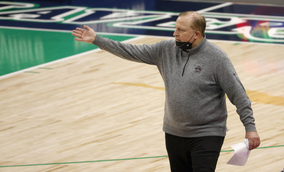 New York Knicks coach Tom Thibodeau gestures during the second half of the team's NBA basketball game against the Dallas Mavericks, Friday, April 16, 2021, in Dallas. (AP Photo/Ron Jenkins)