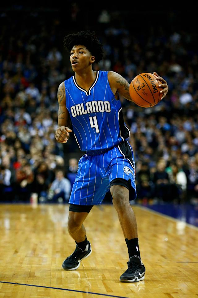 LONDON, ENGLAND - JANUARY 14: Elfrid Payton #4 of the Orlando Magic in action during the 2016 NBA Global Games London match between Toronto Raptors and Orlando Magic at The O2 Arena on January 14, 2016 in London, England. (Photo by Clive Rose/Getty Images)