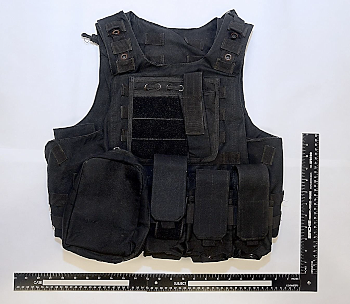 <p>The tactical vest that the teenager in Singapore had bought for his use during the attack on mosques</p> (Singapore government)