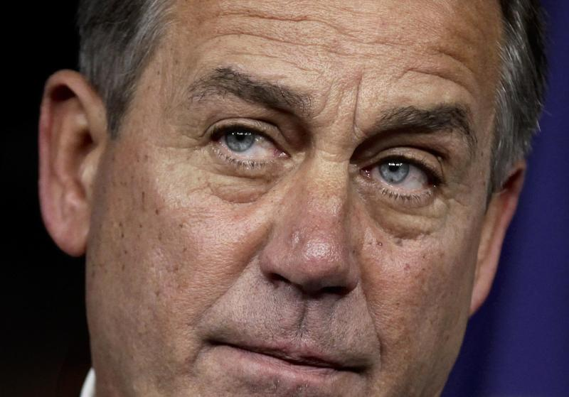 House Speaker John Boehner of Ohio takes part in a news conference on Capitol Hill in Washington, Thursday, July 28, 2011, to discuss the debt crisis showdown.  (AP Photo/J. Scott Applewhite)