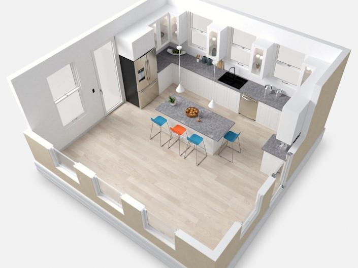 A rendering of the interior of the Casita on a white background