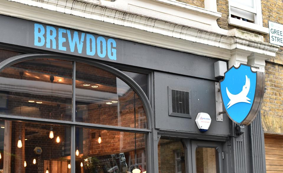 LONDON, ENGLAND - APRIL 29: A general view of a BrewDog bar signage  in Camden Town on April 29, 2018 in London, England. (Photo by John Keeble/Getty Images)