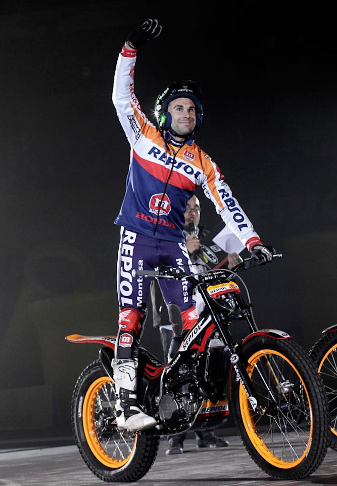 XTrial World Champion Toni Bou waves supporters during the presentation of the Repsol Honda Moto GP Team at the 'Palacio de los Deportes' in Madrid, Spain on Saturday, March 3, 2012.