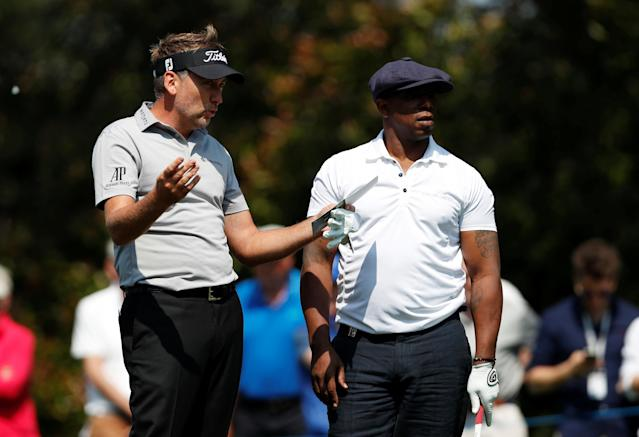 Golf - European Tour - BMW PGA Championship - Wentworth Club, Virginia Water, Britain - May 23, 2018 England's Ian Poulter and former footballer Ian Wright during the pro-am Action Images via Reuters/Paul Childs