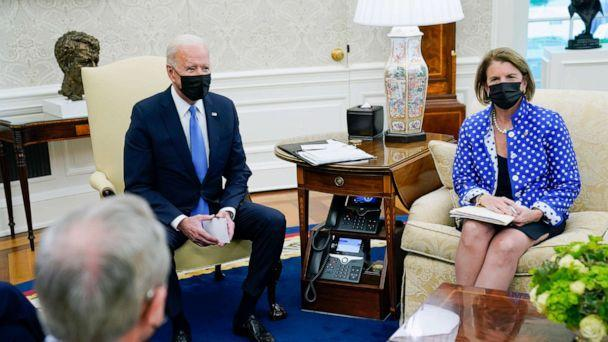 PHOTO: President Joe Biden speaks during a meeting in the Oval Office of the White House,May 13, 2021. (Evan Vucci/AP)