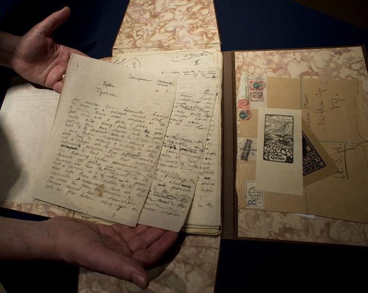 """The working manuscript of """"Typhoon,"""" by Joseph Conrad, is displayed in Sotheby's in New York on June 6, 2013"""