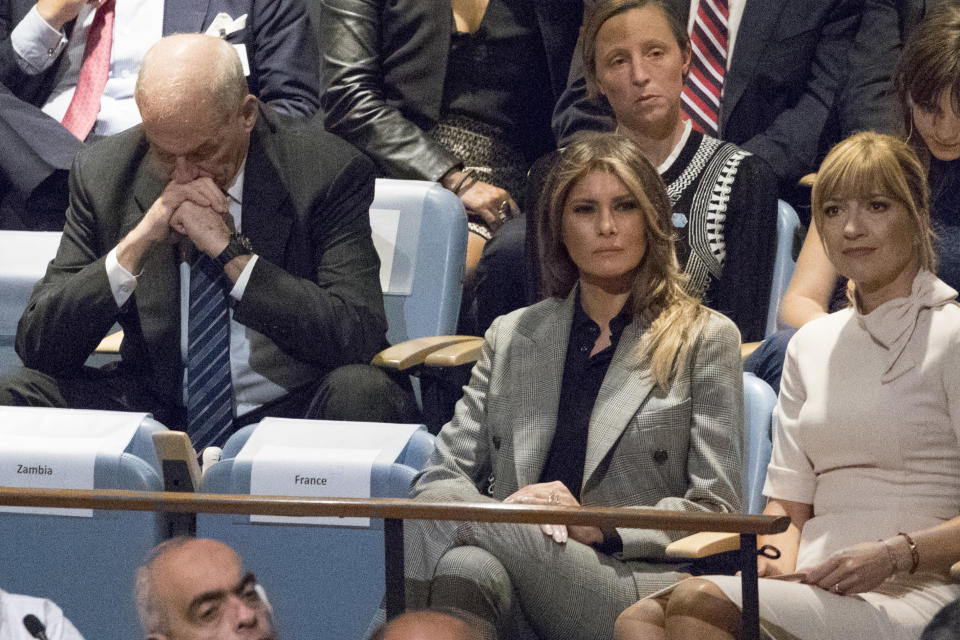 <p>White House Chief of Staff John Kelly, left, reacts as he and first lady Melania Trump listen to President Trump speak during the 72nd session of the United Nations General Assembly at U.N. headquarters, Tuesday, Sept. 19, 2017. (Photo: Mary Altaffer/AP) </p>