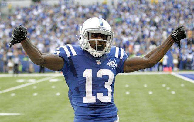 Indianapolis Colts' T.Y. Hilton (13) celebrates following a 47-yard reception during the first half an NFL football game against the Miami Dolphins Sunday, Sept. 15, 2013, in Indianapolis. (AP Photo/AJ Mast)