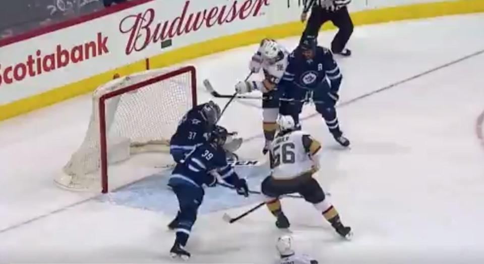 James Neal shatters stick over Connor Hellebuyck's mask, but the goal stands. (Twitter/@atf13atf)