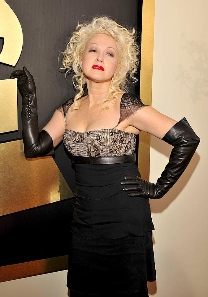 """Only Cyndi Lauper could pull off peroxide blonde hair, black leather, and lace at age 54. The pop star still wants to have fun and we love her for it! Lester Cohen/<a href=""""http://www.wireimage.com"""" target=""""new"""">WireImage.com</a> - February 10, 2008"""