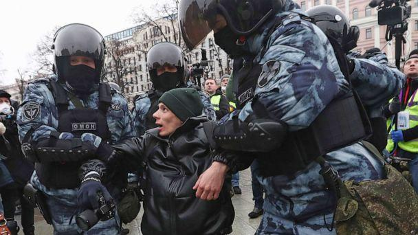 PHOTO: Police detain a man during a protest against the jailing of opposition leader Alexei Navalny in Moscow, Jan. 23, 2021. Russian police arrested hundreds of protesters who took to the streets to demand the release of Alexei Navalny. (AP, FILE)