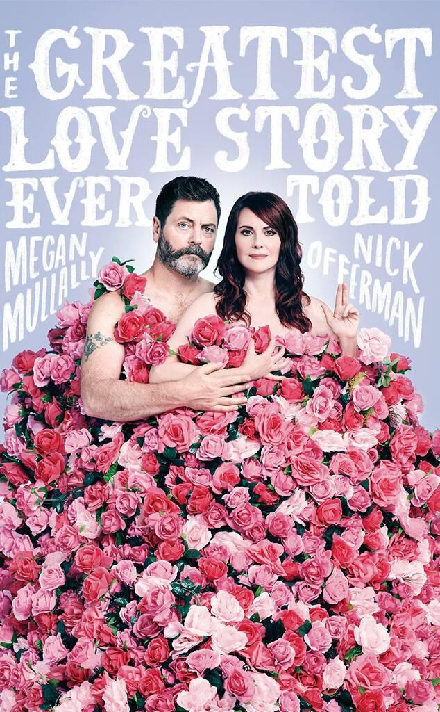 """Nick Offerman and Megan Mullally, """"The Greatest Love Story Ever Told"""" book cover"""