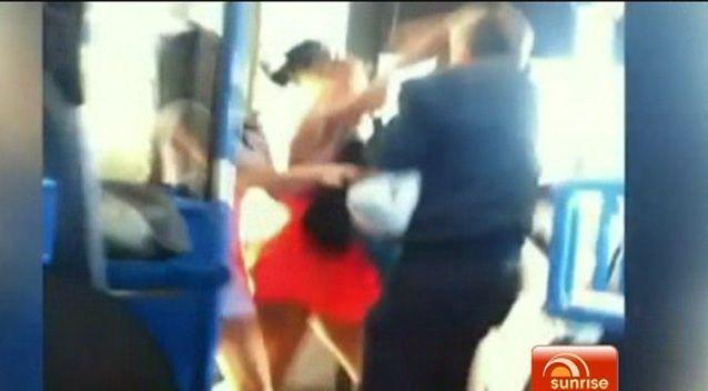 The teenager is seen punching the elderly man on a Gold Coast bus. Photo: Supplied.