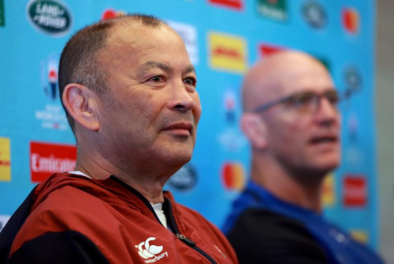 TOKYO, JAPAN - OCTOBER 22: Eddie Jones, (L) the England head coach, faces the media with the defence coach John Mitchell during the England media session on October 22, 2019 in Tokyo, Japan. (Photo by David Rogers/Getty Images)