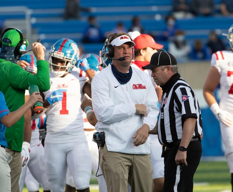 Ole Miss coach Lane Kiffin stands on the sideline during a game against Kentucky on Oct. 3. (Mark Cornelison/Collegiate Images/Getty Images)
