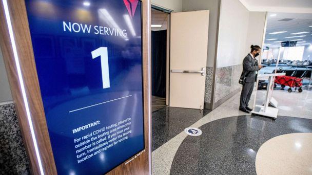 PHOTO: Delta Air is conducting a three week pilot testing program allows U.S. travelers flying for essential reasons to fly from Atlanta to Amsterdam and Rome without having to quarantine when they arrive, Atlanta Dec. 15, 2020.  (Chris Rank via Delta Air Lines)