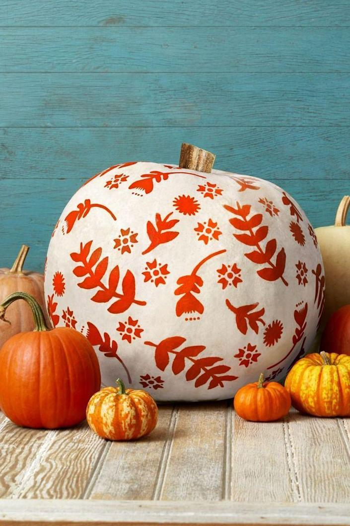 """<p>Whether or not it's Halloween, you can have fun painting an intricate design on your pumpkins and displaying them proudly outside your home. Stencils make it easy.</p><p><a class=""""link rapid-noclick-resp"""" href=""""https://go.redirectingat.com?id=74968X1596630&url=https%3A%2F%2Fwww.walmart.com%2Fsearch%2F%3Fquery%3Dcraft%2Bstencils&sref=https%3A%2F%2Fwww.thepioneerwoman.com%2Fhome-lifestyle%2Fdecorating-ideas%2Fg36732301%2Foutdoor-fall-decorations%2F"""" rel=""""nofollow noopener"""" target=""""_blank"""" data-ylk=""""slk:SHOP STENCILS"""">SHOP STENCILS</a></p>"""