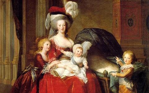 Marie Antoinette and her children Marie Therese, Louis Charles (on her lap), and Louis Joseph - Credit: Alamy