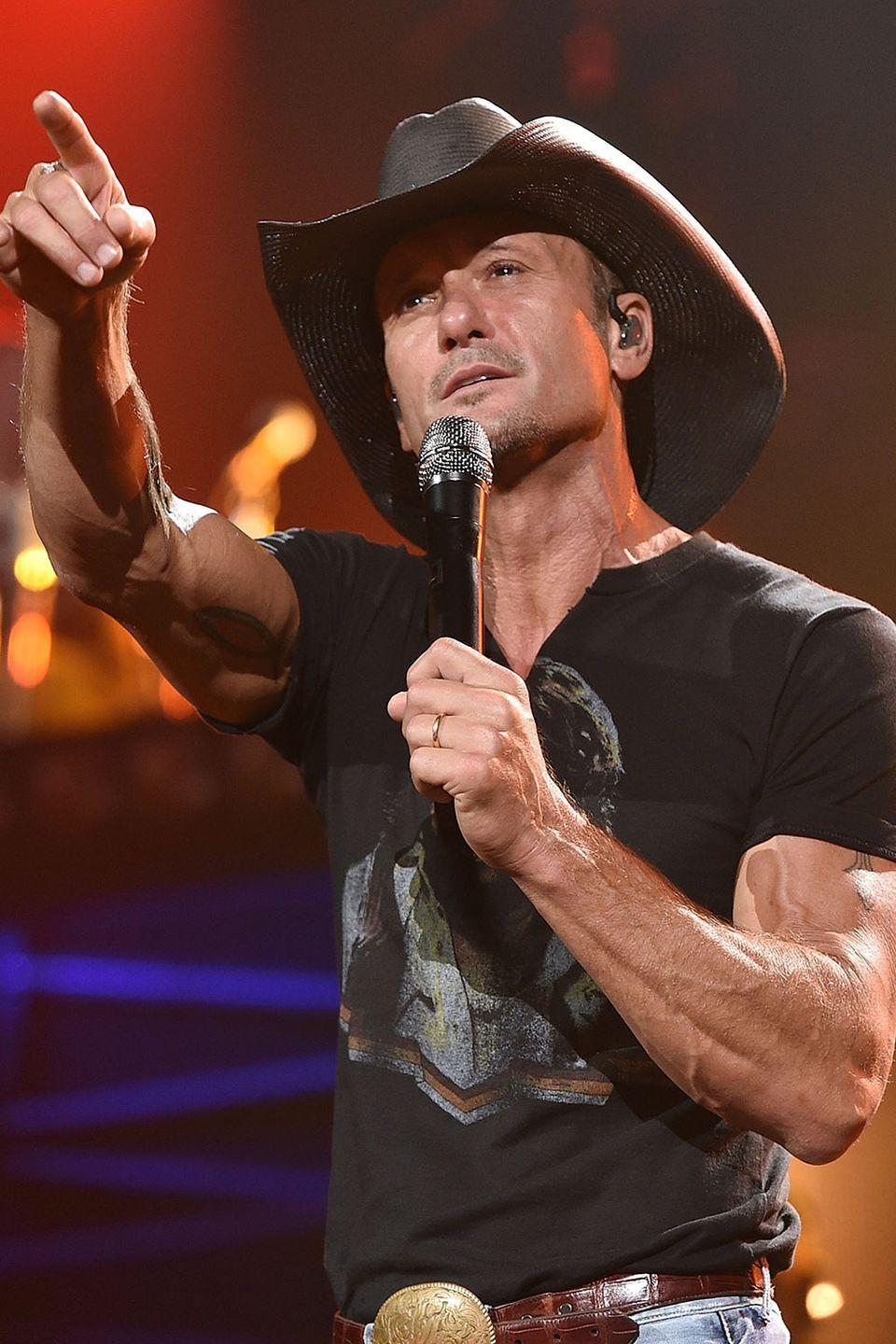 """<p>The country music star discussed his road to sobriety on Ellen where he recalled how he made his decision to change his ways back in 2008: 'I think it's a personal choice—when it gets to the point where you think it's affecting you adversely and it's affecting your relationships.' </p><p>H/T: <a href=""""http://www.eonline.com/news/385067/tim-mcgraw-opens-up-on-ellen-about-being-sober-reveals-he-isn-t-wearing-underwear"""" rel=""""nofollow noopener"""" target=""""_blank"""" data-ylk=""""slk:E!"""" class=""""link rapid-noclick-resp"""">E!</a></p>"""