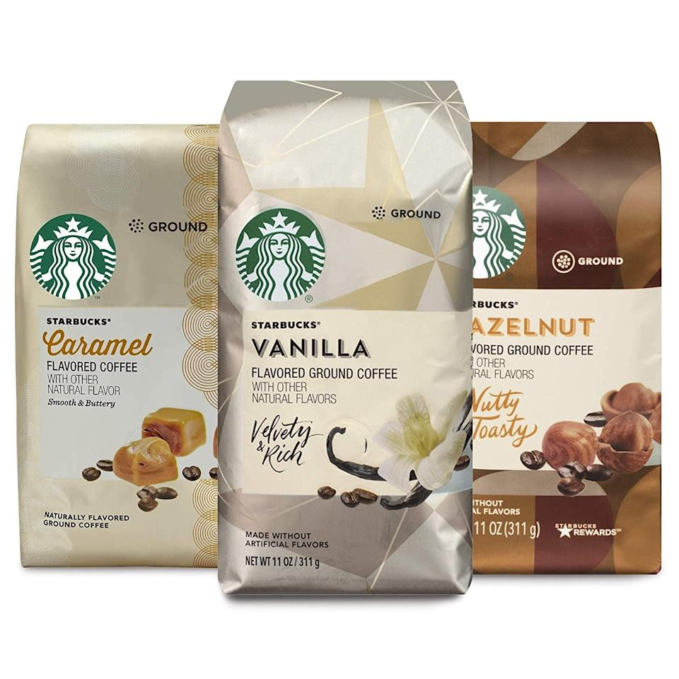 <p>Make the perfect cup of coffee just like your favorite barista with these <span>Starbucks Flavored Ground Coffee - Variety Pack</span> ($18).</p>