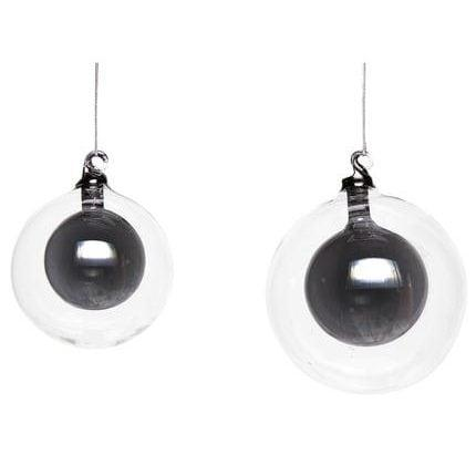 Black Set Of 2 Christmas Glass Bauble Within A Bauble - Credit: Hubsch