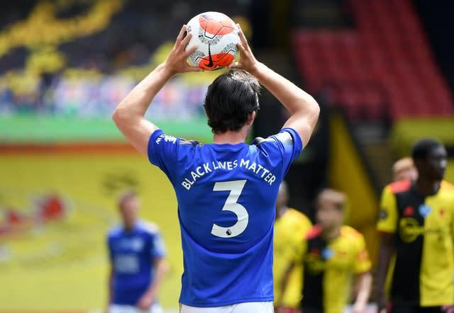 Leicester's Ben Chilwell takes a throw-in, with Black Lives Matter written on the back of his shirt (Andy Rain/NMC Pool/PA)