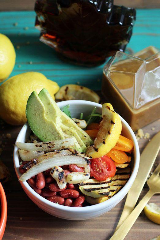 "<p>You know a recipe is good when both kids <em>and </em>their parents love it. ""In each bowl, you get a big pile of grilled veggies  -  plus protein-packed quinoa and satiating avocado, full of healthy fats. The hint of sweetness from the maple syrup perfectly balances out the savory ingredients for young palates,"" says Amy Gorin, MS, RDN, owner of <a rel=""nofollow"" href=""http://amydgorin.com/"">Amy Gorin Nutrition</a> in the New York City area. </p><p><strong><a rel=""nofollow"" href=""https://www.amydgorin.com/summer-vegetarian-grain-bowl-with-maple-dijon-dressing/"">Get the recipe at Amy Gorin Nutrition.</a></strong></p>"