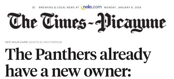 This is the headline of the New Orleans Times-Picayune on Monday, January 8, 2018.