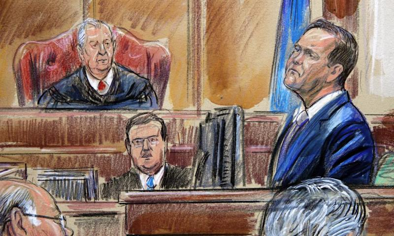 Rick Gates on the witness stand in court in Alexandria. Gates is testifying against Paul Manafort, an ex-Trump campaign chairman accused of bank fraud and tax evasion.
