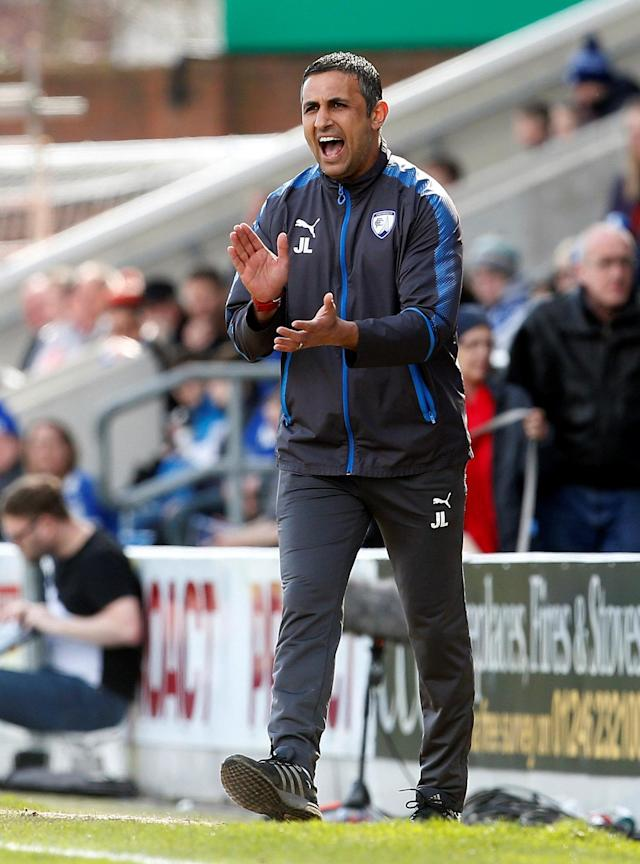 "Soccer Football - League Two - Chesterfield vs Notts County - Proact Stadium, Chesterfield, Britain - March 25, 2018 Chesterfield manager Jack Lester Action Images/Craig Brough EDITORIAL USE ONLY. No use with unauthorized audio, video, data, fixture lists, club/league logos or ""live"" services. Online in-match use limited to 75 images, no video emulation. No use in betting, games or single club/league/player publications. Please contact your account representative for further details."