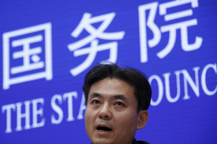 Yang Guang, spokesman of the Hong Kong and Macau Affairs Office of the State Council, speaks during a press conference about the ongoing protests in Hong Kong, at the State Council Information Office in Beijing, Monday, July 29, 2019. Yang said some Western politicians are stirring unrest in Hong Kong in hopes of creating difficulties that will impede China's overall development. (AP Photo/Andy Wong)