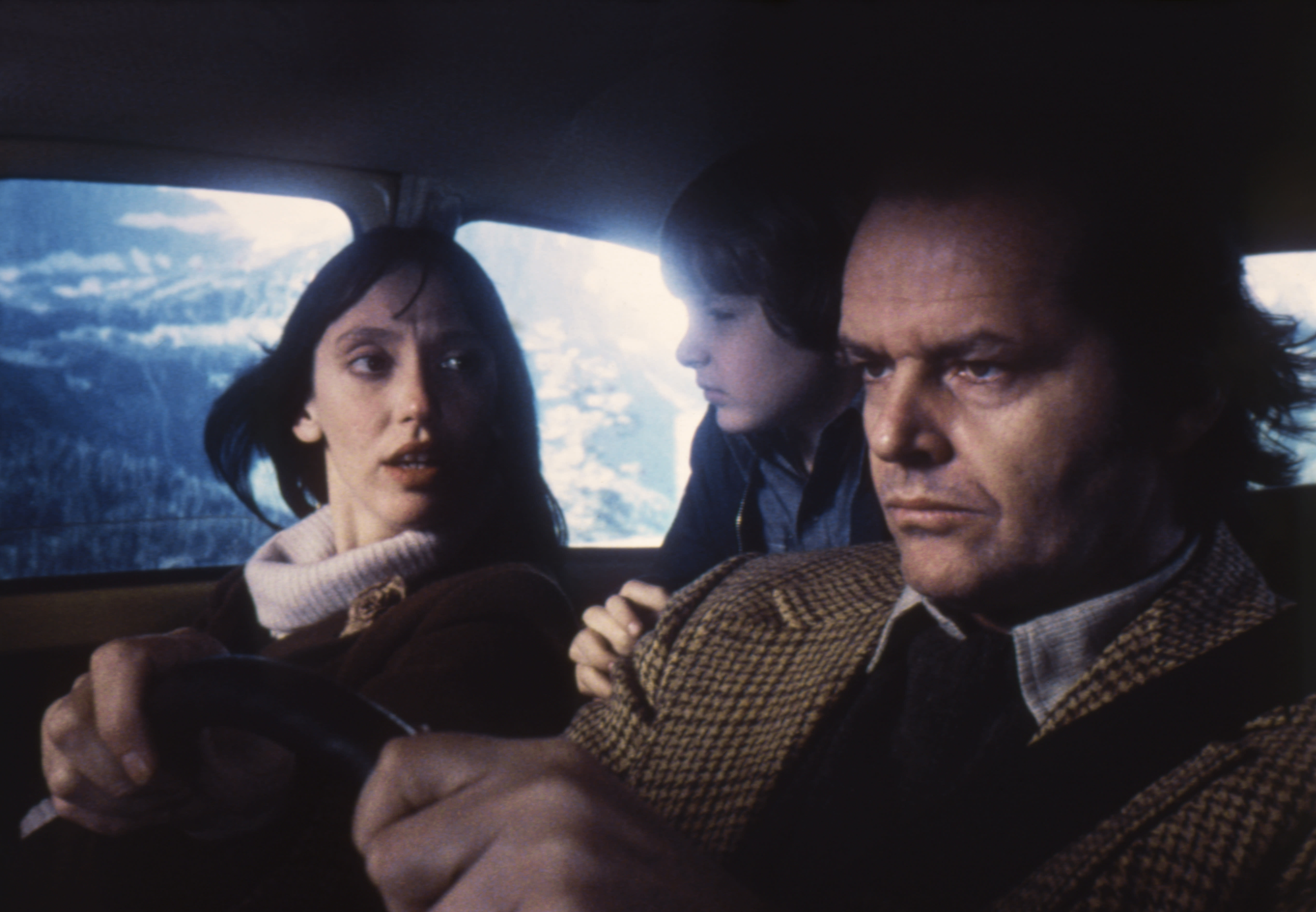 American actors Jack Nicholson, Danny Lloyd and Shelley Duvall on the set of The Shining, based on the novel by Stephen King, and directed by Stanley Kubrick. (Photo by Sunset Boulevard/Corbis via Getty Images)