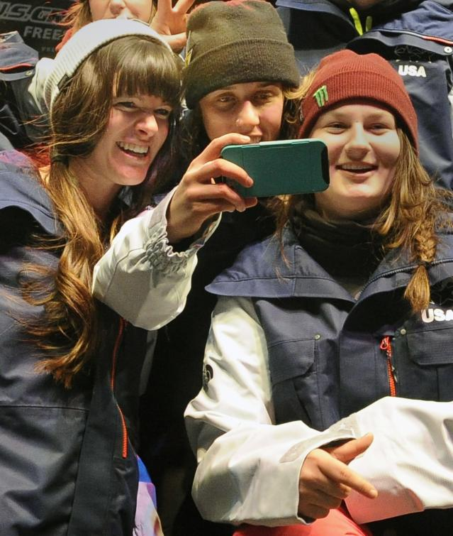 "PARK CITY, UT - JANUARY 18: (L-R) Keri Herman, Maddie Bowman and Devin Logan take a ""selfie"" after being named to the US Olympic Freeskiing Team on day two of the Visa U.S. Freeskiing Grand Prix at Park City Mountain Resort January 18, 2014 in Park City, Utah. (Photo by Gene Sweeney Jr/Getty Images)"