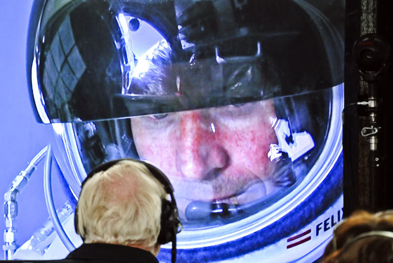 In this photo provided by Red Bull, pilot Felix Baumgartner of Austria is seen in a screen at mission control center in the capsule during the final manned flight for Red Bull Stratos in Roswell, N.M. on Sunday, Oct. 14, 2012.   Baumgartner plans to jump from an altitude of 120,000 feet, an altitude chosen to enable him to achieve Mach 1 in free fall, which would deliver scientific data to the aerospace community about human survival from high altitudes.(AP Photo/Red Bull, Stefan Aufschnaiter)
