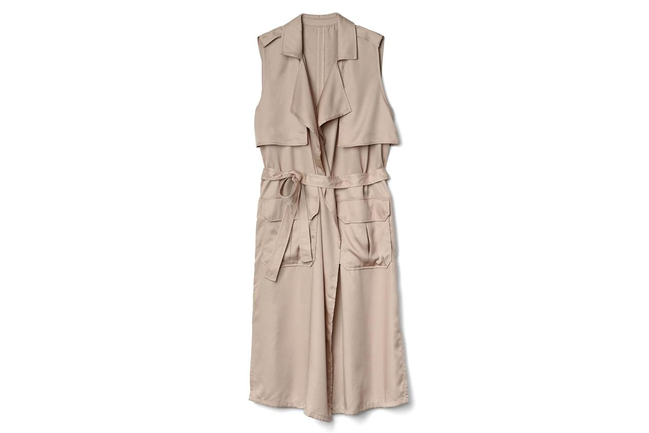 """<p>Consider this the ultimate transitional piece—throw this sleeveless layer on now over a cozy sweater, then wear it when the weather warms up over a breezy, printed sundress.<br /> <br /> <strong>To buy:</strong> $98, <a rel=""""nofollow"""" href=""""http://www.anrdoezrs.net/links/7876406/type/dlg/sid/7 Spring-Ready Trench Coats/http://www.gap.com/browse/product.do?vid=1&pid=639509012"""">gap.com</a>.</p>"""