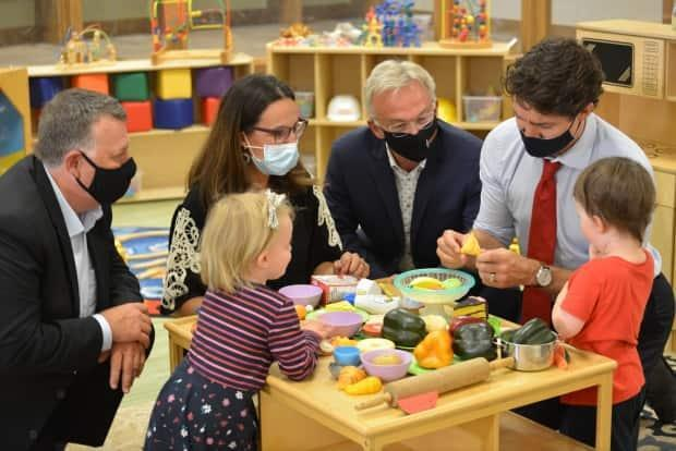 Prime Minister Justin Trudeau made the funding announcement at the Carrefour de l'Isle-Saint-Jean, a French-language child-care centre in Charlottetown. (Julien Lecacheur/Radio-Canada - image credit)