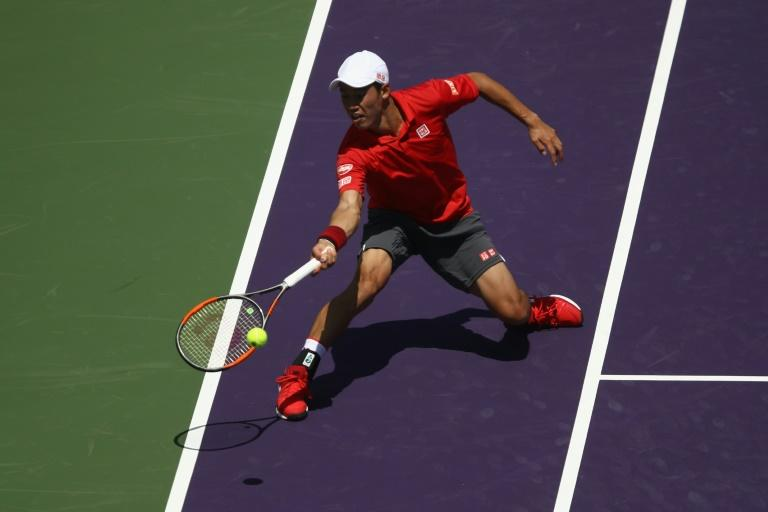 Kei Nishikori in action against Federico Delbonis at the Miami Open in Florida