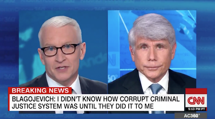 CNN anchor Anderson Cooper confronted an unrepentant Rod Blagojevich on the 21 February, 2020, edition of his show AC360 in a heated exchange described by viewers as 'masterful': CNN