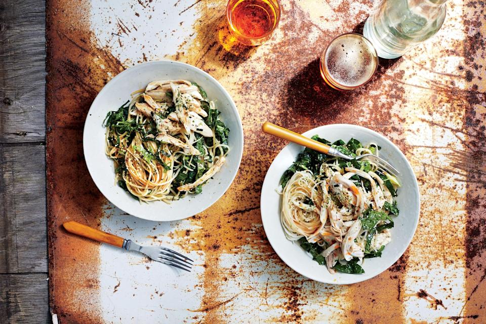 "You'll find many of the ingredients for this chicken and noodles recipe in the Asian section of your supermarket or health food store. Stock up: We promise you'll be making this well into fall. <a href=""https://www.bonappetit.com/recipe/sichuan-style-chicken-rice-noodles?mbid=synd_yahoo_rss"" rel=""nofollow noopener"" target=""_blank"" data-ylk=""slk:See recipe."" class=""link rapid-noclick-resp"">See recipe.</a>"
