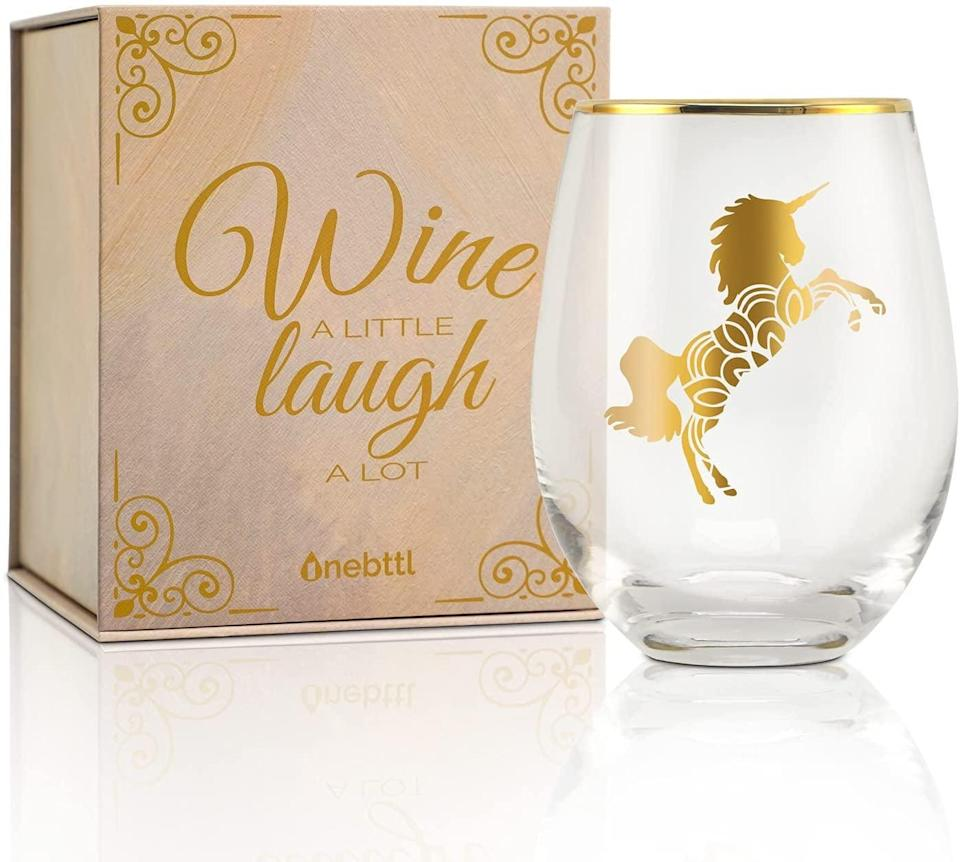 <p>If they love to relax with a glass of wine or a refreshing drink, they'll love using this stunning <span>Onebttl Unicorn Stemless Wine Glass</span> ($19). It's a glamorous glass that will make them feel oh so fancy.</p>