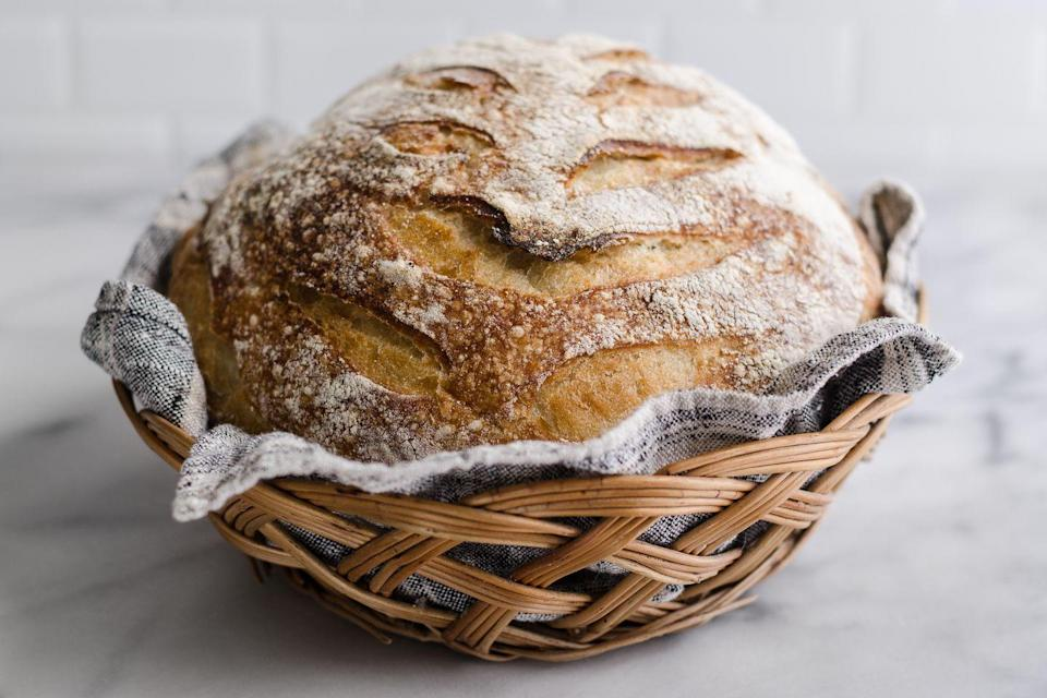 "<p>""When baking bread, you can test it by tapping the top of the loaf with your fingernails. If it sounds hollow, the bread is ready. If not, it needs more time in the oven.""</p><p>— <a href=""https://www.instagram.com/jennysonafrank/"" rel=""nofollow noopener"" target=""_blank"" data-ylk=""slk:@jennysonafrank"" class=""link rapid-noclick-resp"">@jennysonafrank</a></p>"