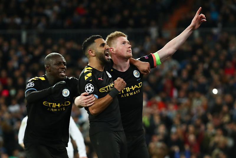 Kevin de Bruyne (right) and Manchester City beat Real Madrid, greatly increasing their chances to advance in what might be their last shot to win the Champions League for awhile. (REUTERS/Sergio Perez)