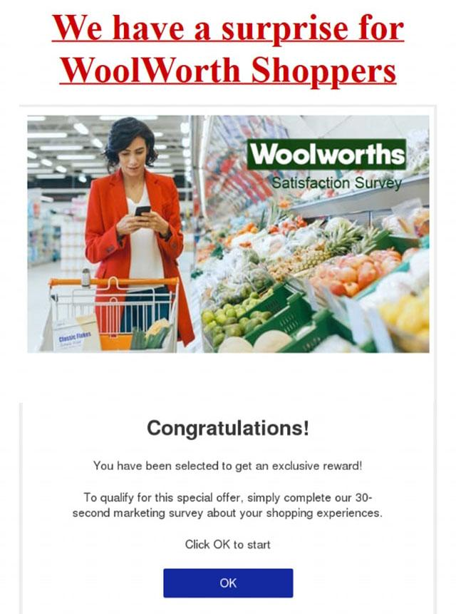 A fake Woolworths email is pictured.
