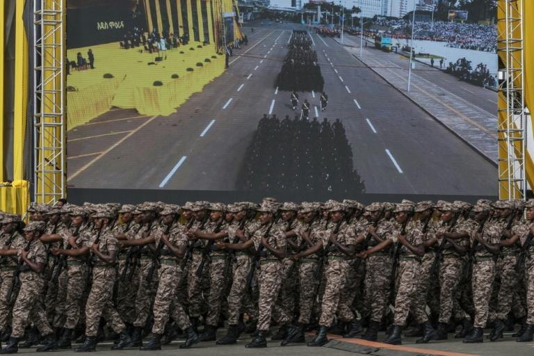 Ethiopian defense forces during the inauguration of the new government in Addis Ababa on October 4, 2021 (AFP/EDUARDO SOTERAS)