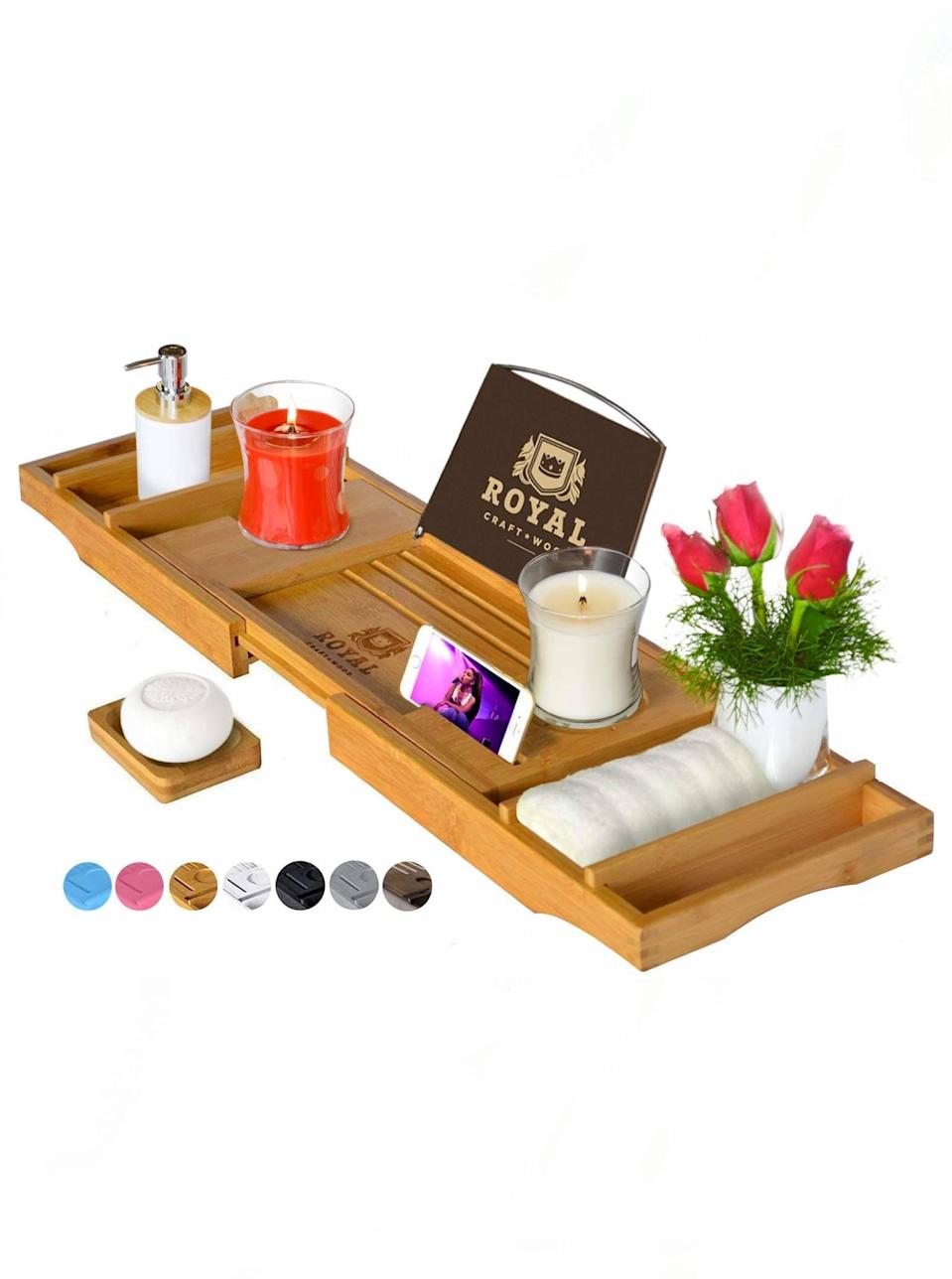 "Let's face it: Moms deserve all of the decadent bubble baths their hearts desire, and this tray will make the experience even more seamless. Throw in some of our favorite <a href=""https://www.glamour.com/gallery/best-bath-essentials?mbid=synd_yahoo_rss"" rel=""nofollow noopener"" target=""_blank"" data-ylk=""slk:bath essentials"" class=""link rapid-noclick-resp"">bath essentials</a> and watch her stress levels plummet. $42, Amazon. <a href=""https://www.amazon.com/dp/B01C4IS4Q2/"" rel=""nofollow noopener"" target=""_blank"" data-ylk=""slk:Get it now!"" class=""link rapid-noclick-resp"">Get it now!</a>"