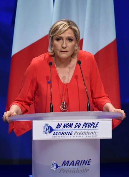 French far-right Front National party candidate for the presidential election Marine Le Pen speaks during a campaign rally on March 11, 2017 in Deols, central France