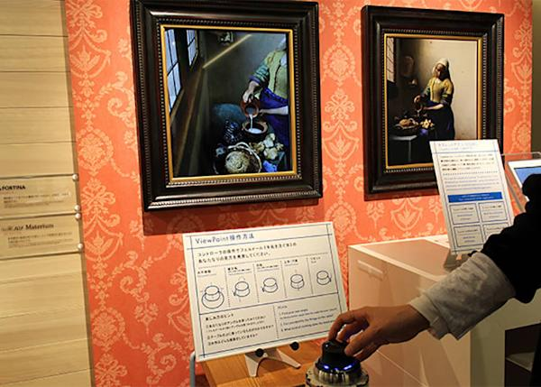 """View the painting from a variety of angles with the controller©Rijksmuseum Amsterdam. Purchased with the support of the Vereniging Rembrandt. ViewPaint: Vermeer's """"The Milkmaid"""" Produced by Toppan Printing Co., Supervisor: Yoriko Kobayashi"""