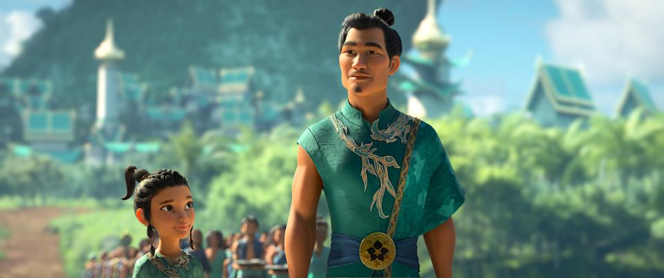 Young Raya looks up to her beloved father Benja, Chief of the Heart Lands. Benja, the legendary Guardian of the Dragon Gem, is an idealistic and bold visionary who seeks to reunite the fractured kingdom of Kumandra and restore harmony. Featuring Daniel Dae Kim as the voice of Chief Benja. (Disney)