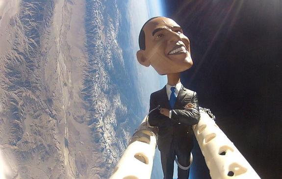 Obama Bobblehead Launched Into Stratosphere (Romney, Too)