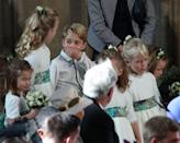 """<p>While it's far from a major scandal, Prince George was caught on camera looking exceedingly cheeky at <a href=""""https://www.harpersbazaar.com/celebrity/latest/g23692122/princess-eugenie-royal-wedding-photos/"""" rel=""""nofollow noopener"""" target=""""_blank"""" data-ylk=""""slk:Princess Eugenie's wedding"""" class=""""link rapid-noclick-resp"""">Princess Eugenie's wedding</a>. Snapped next to known <a href=""""https://www.harpersbazaar.com/celebrity/latest/a23732776/prince-george-savannah-philips-eugenie-wedding/"""" rel=""""nofollow noopener"""" target=""""_blank"""" data-ylk=""""slk:troublemaker Savannah Phillips"""" class=""""link rapid-noclick-resp"""">troublemaker Savannah Phillips</a>, George couldn't stop giggling right before the service, especially when his partner in crime pretended to play the trumpet. These two are too much. </p>"""